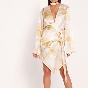 dollar print kimono wrap dress Missguided